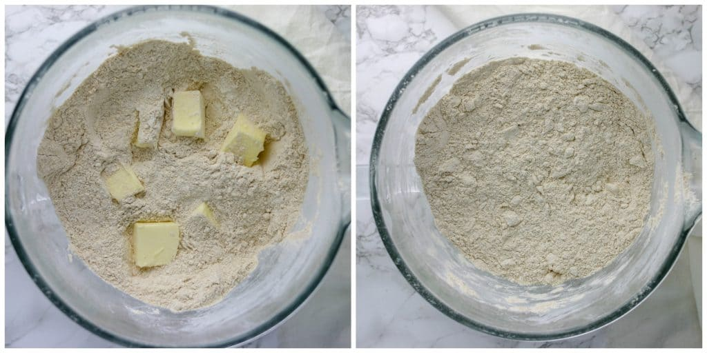 cubed butter added to dry ingredients