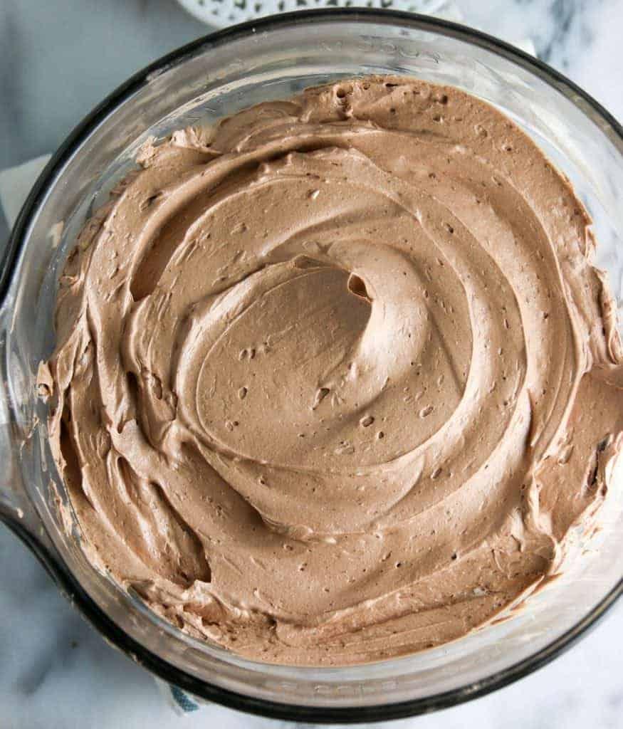bowl of chocolate italian buttercream