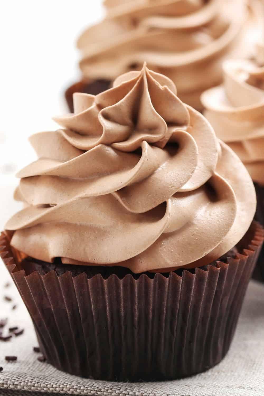 chocolate cupcake with chocolate italian meringue buttercram