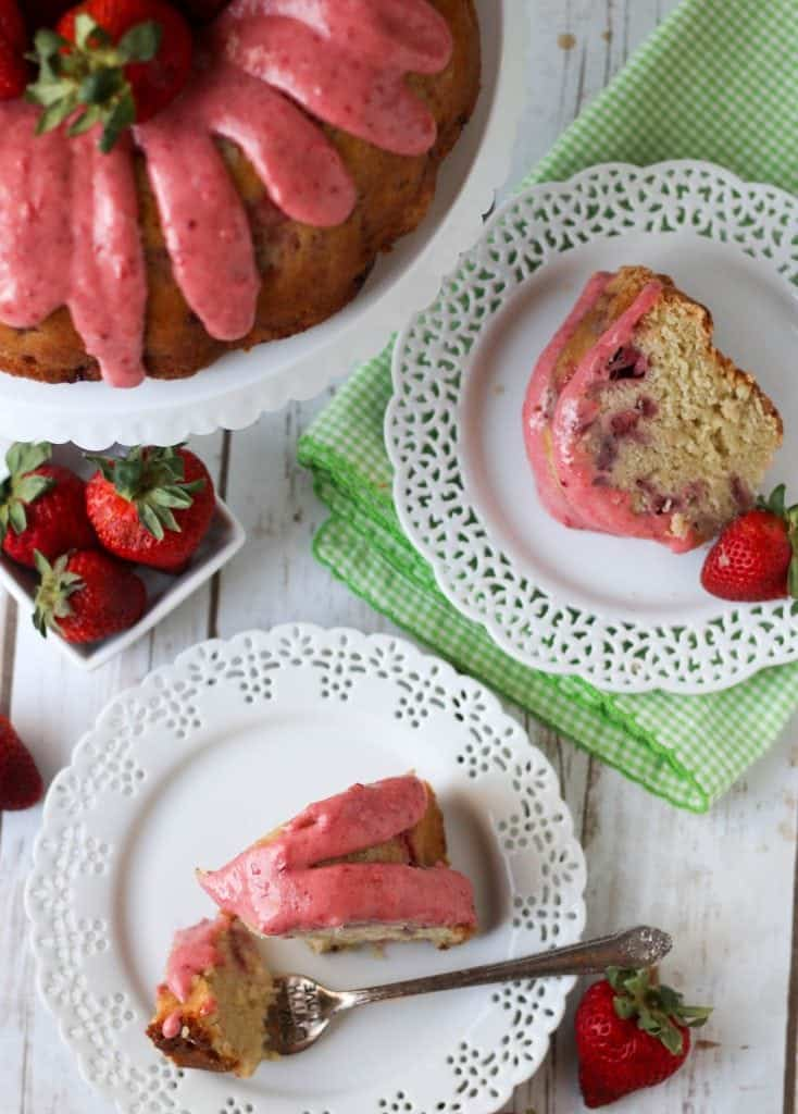 strawberry pound cake and two slices of strawberry pound cake on plates with