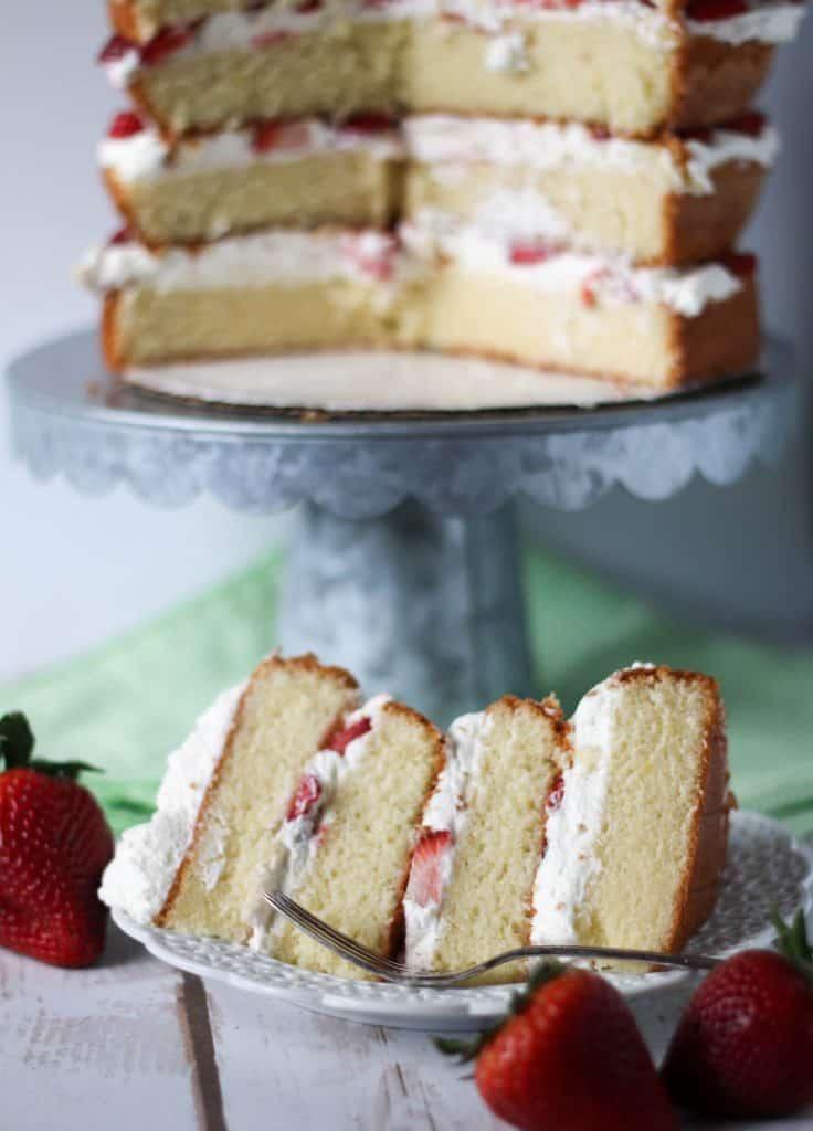 slice of sponge cake with cake on cake stand