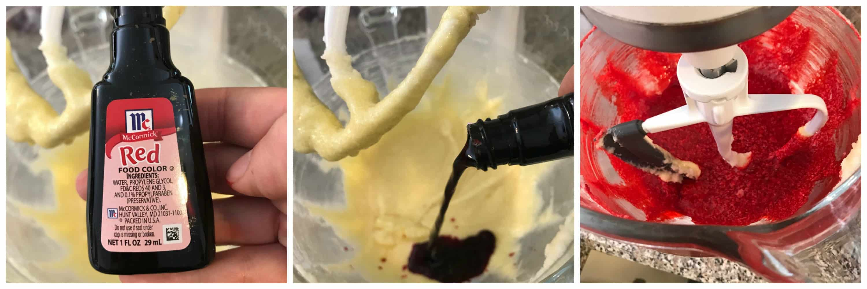 red food coloring added to creamed mixture
