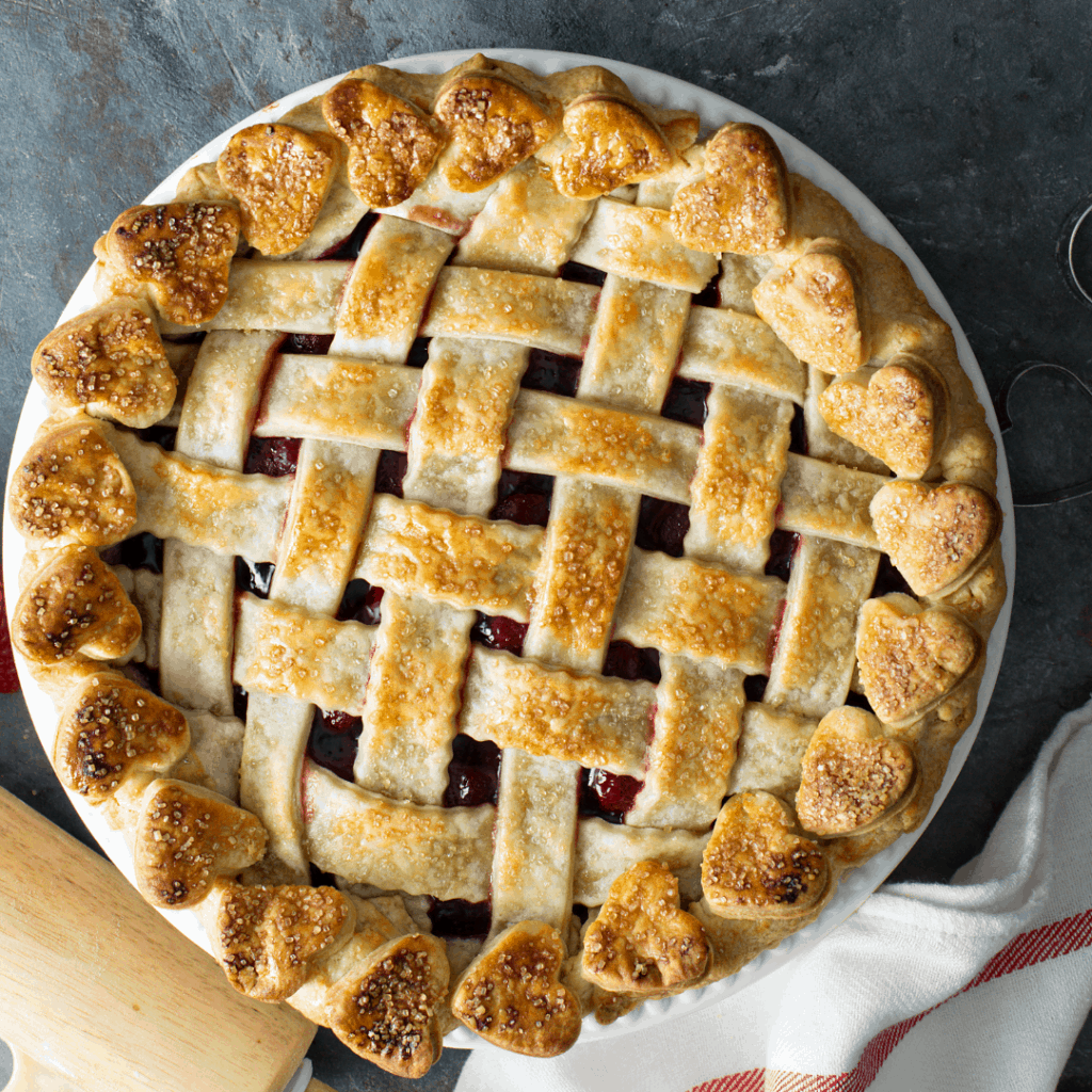 strawberry pie with a lattice pie crust top