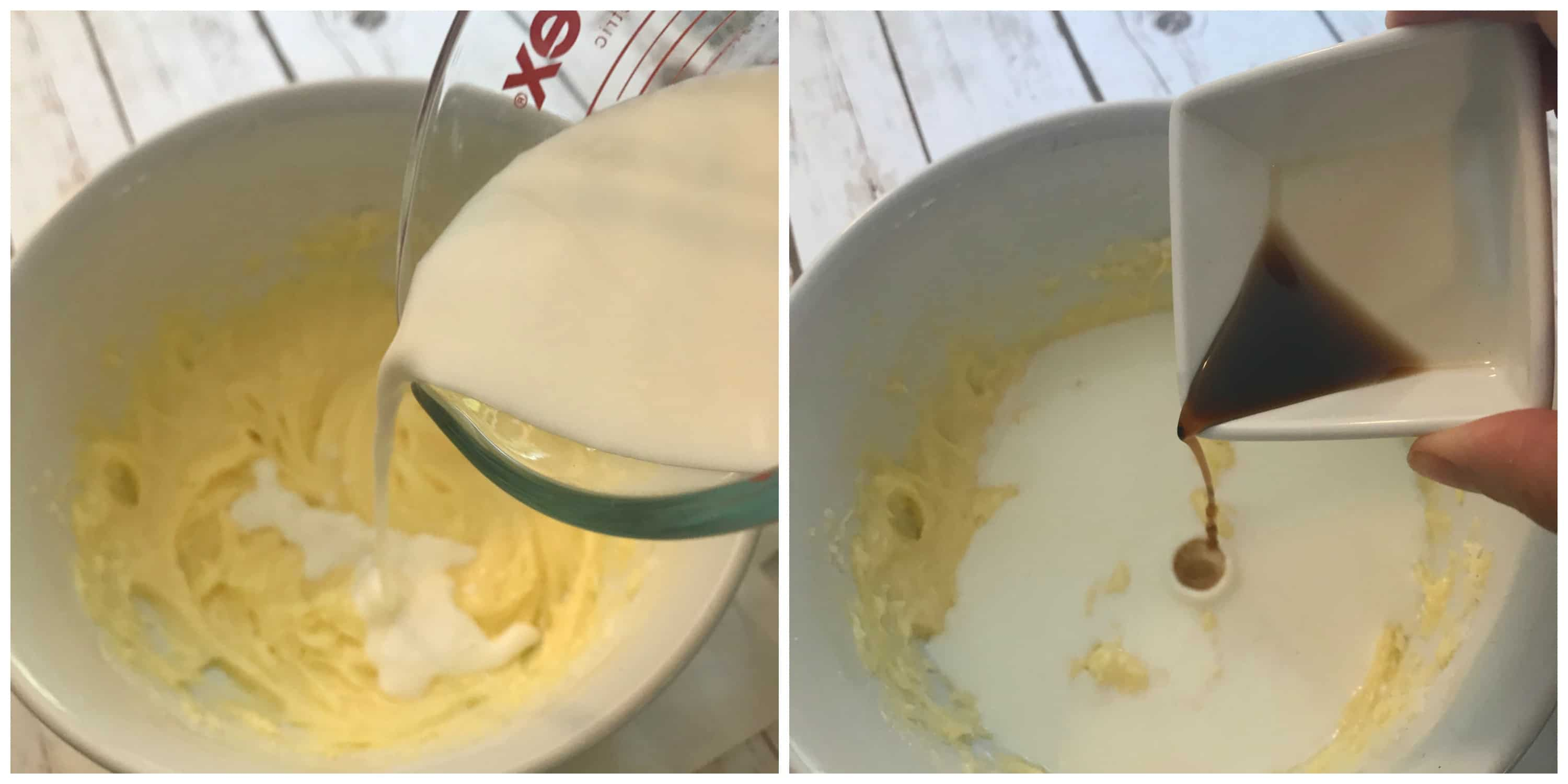 milk and vanilla poured into bowl