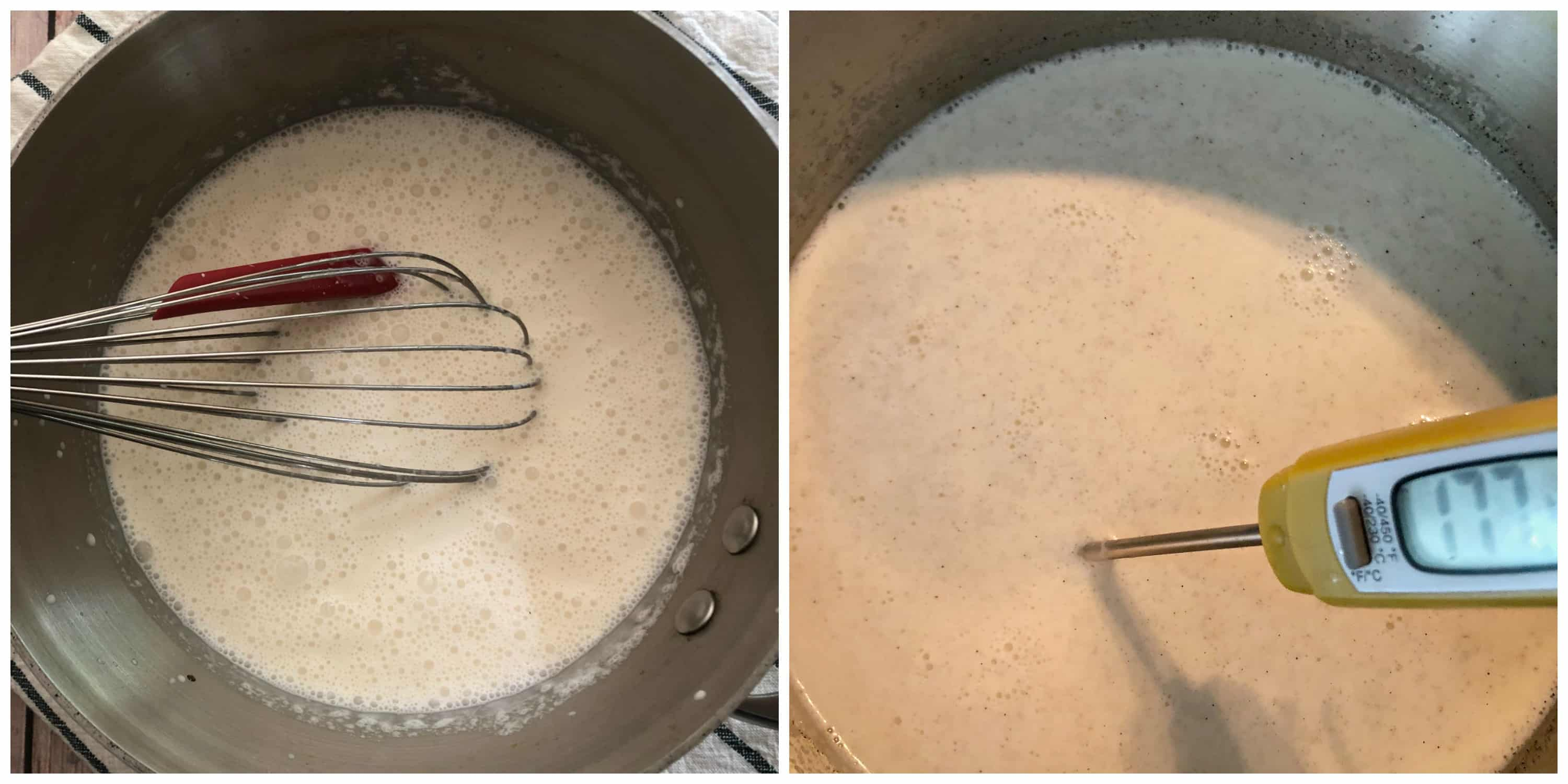 ice cream mixture heated in saucepan with a digital thermometer
