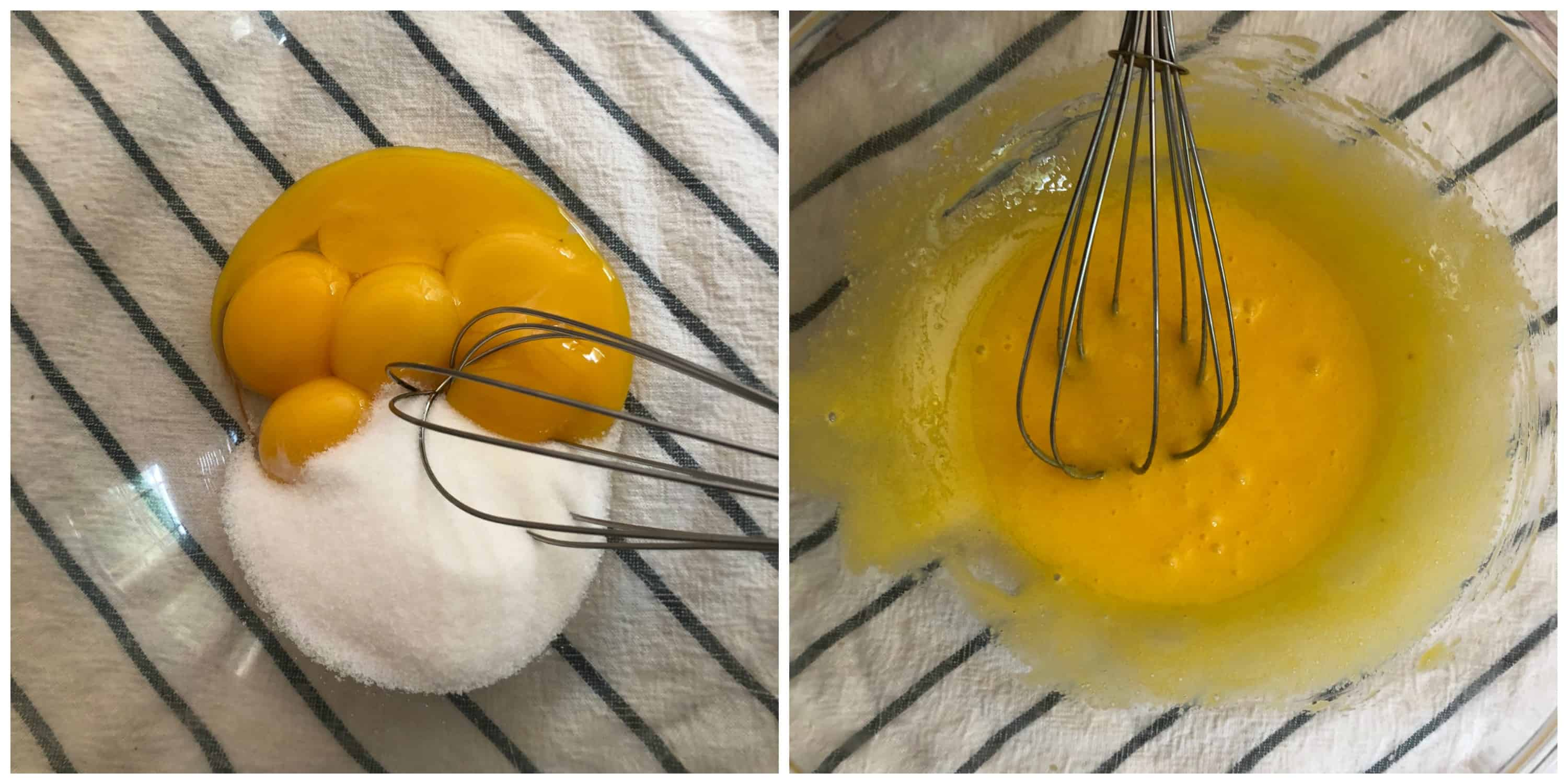 sugar and eggs whisked together in a bowl