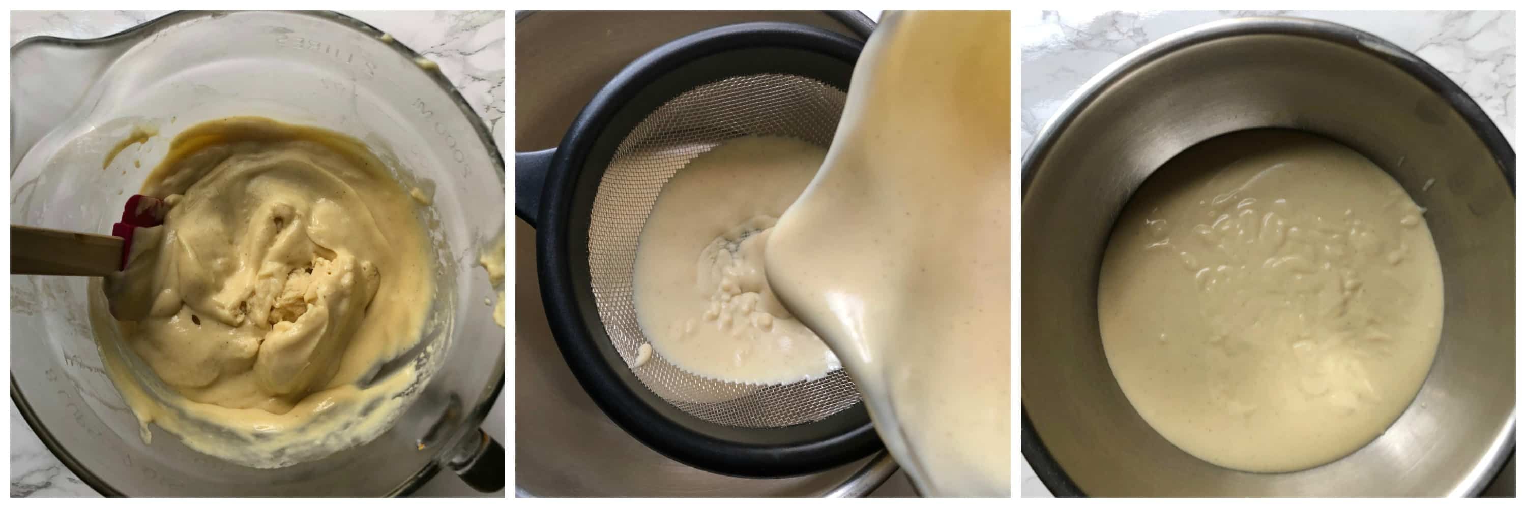 custard strained through a sieve