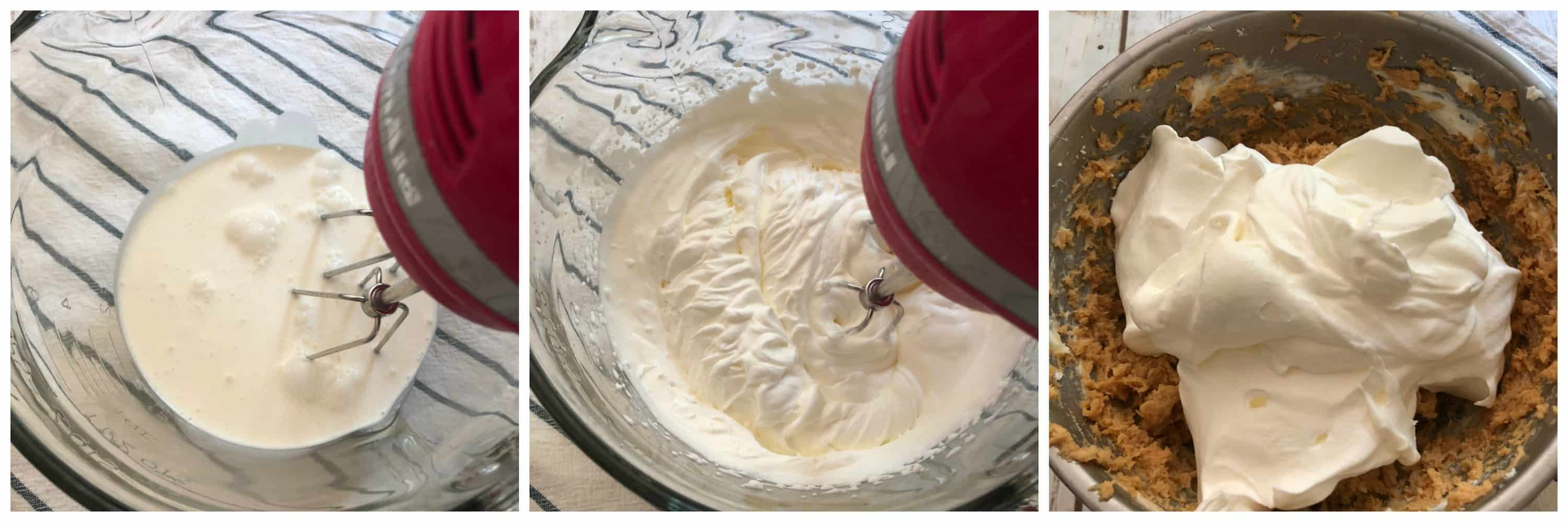 heavy cream being whipped and folded into peanut butter mixture
