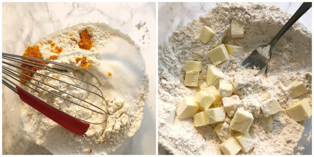 dry ingredients and butter stirred together