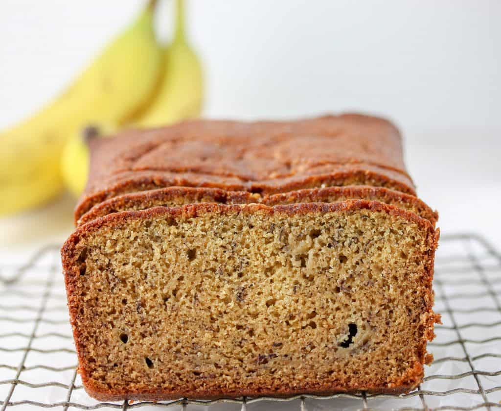 whole wheat banana bread on a cooling rack