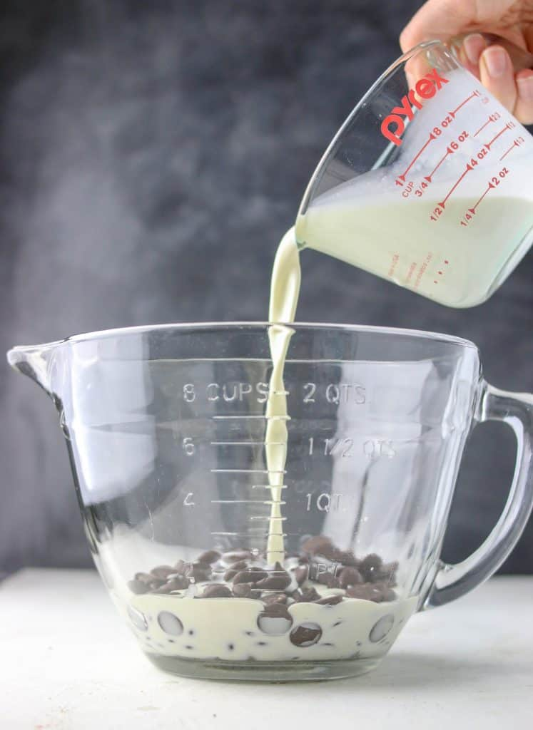 cream poured over chocolate for ganache