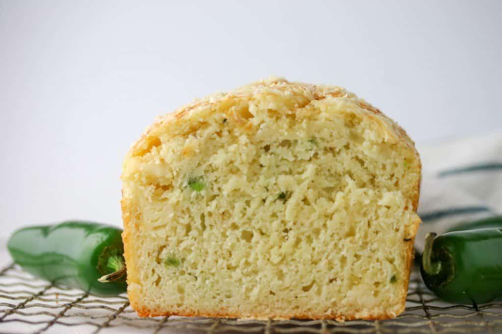 loaf of jalapeno cheddar bread cut in half