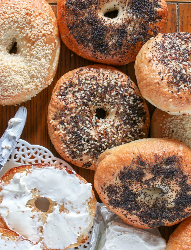 a variety of homemade bagels