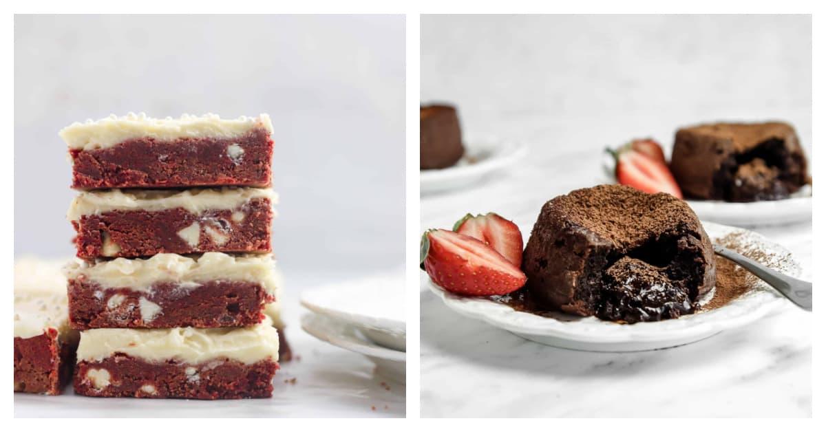 red velvet bars and molten lava cake