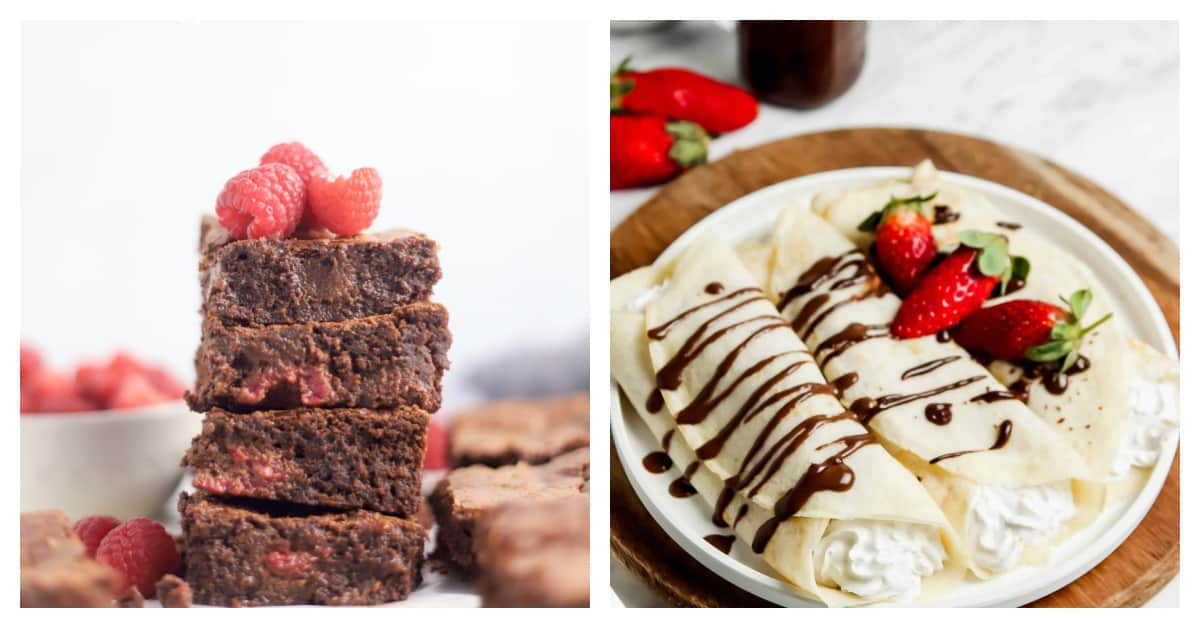 raspberry brownies and french crepes