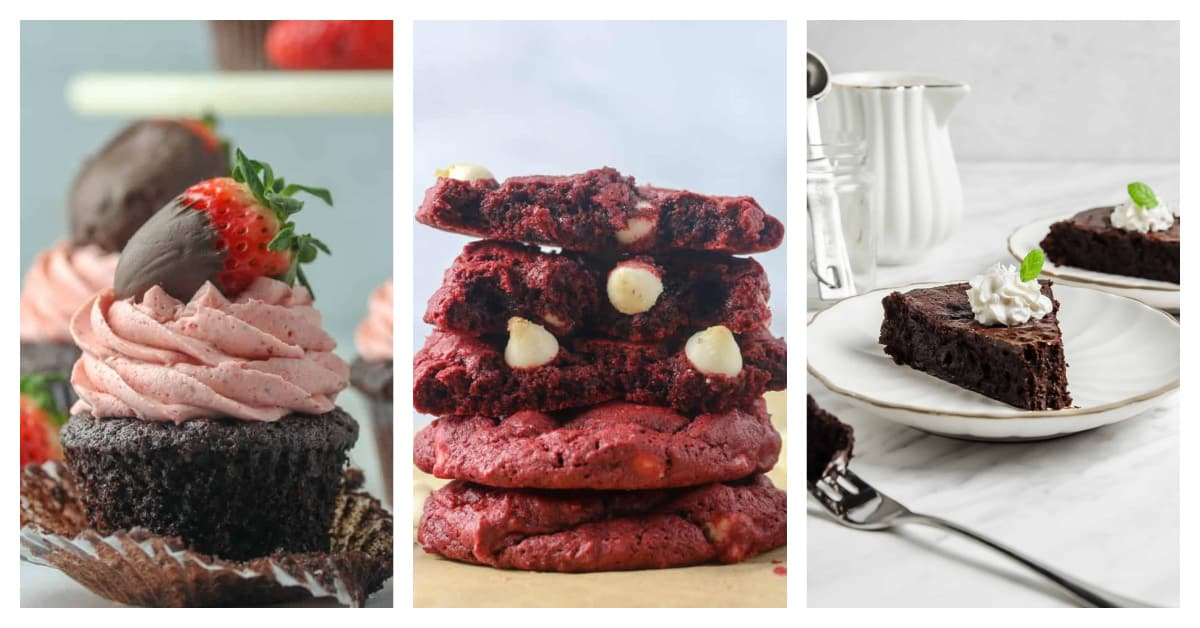 strawberry cupcakes, red velvet cookies, and flourless chocolate cake