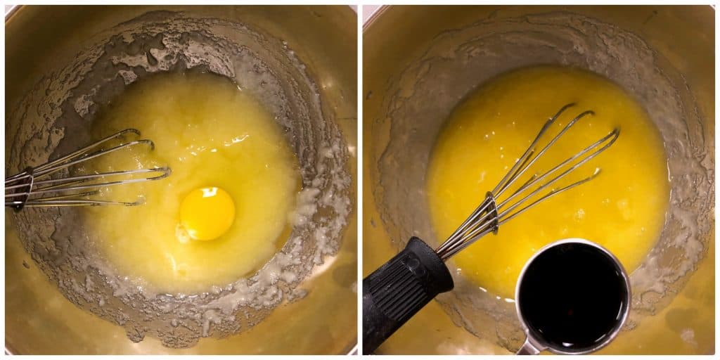egg and vanilla whisked in bowl for funfetti cupcakes