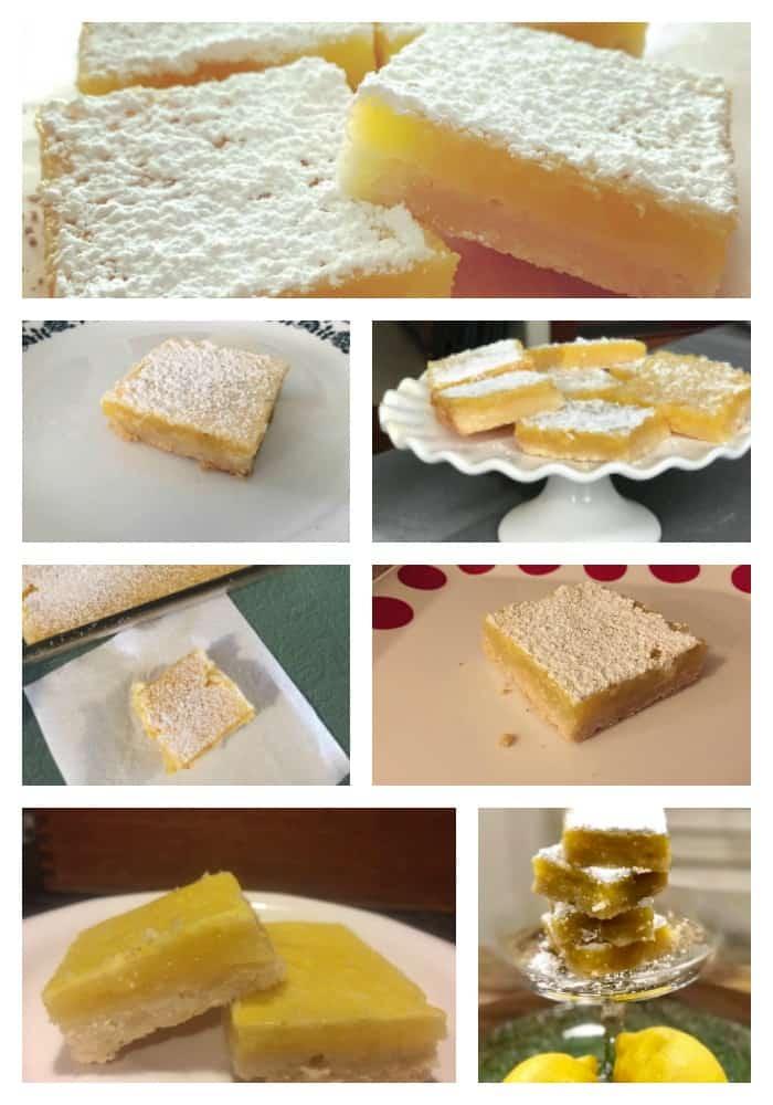 collage of lemon bars
