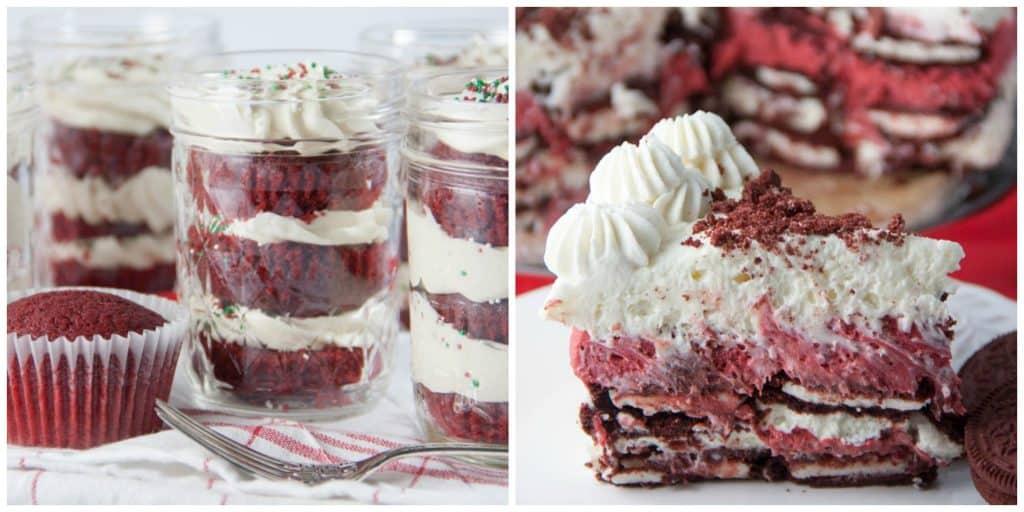 Valentine's Day Desserts red velvet mason jar cupcakes no bake red velvet cake