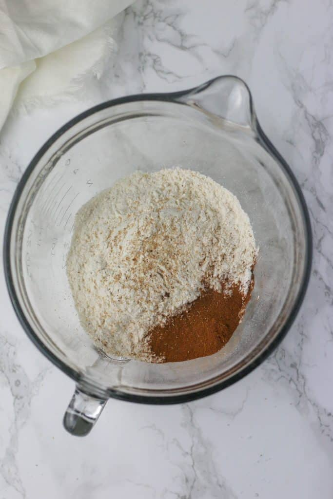 dry ingredients in a bowl for carrot cake cookies