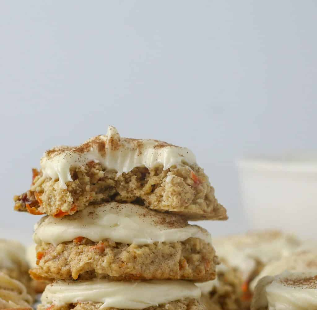 carrot cake cookie with a bite taken out of it