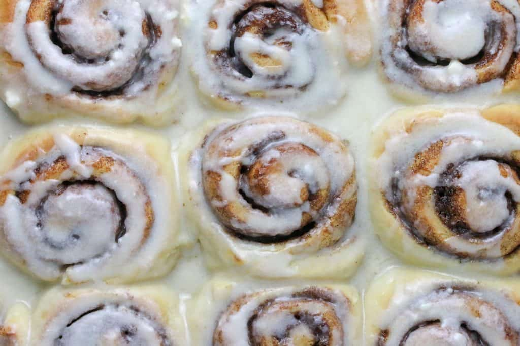 dish of cinnamon rolls