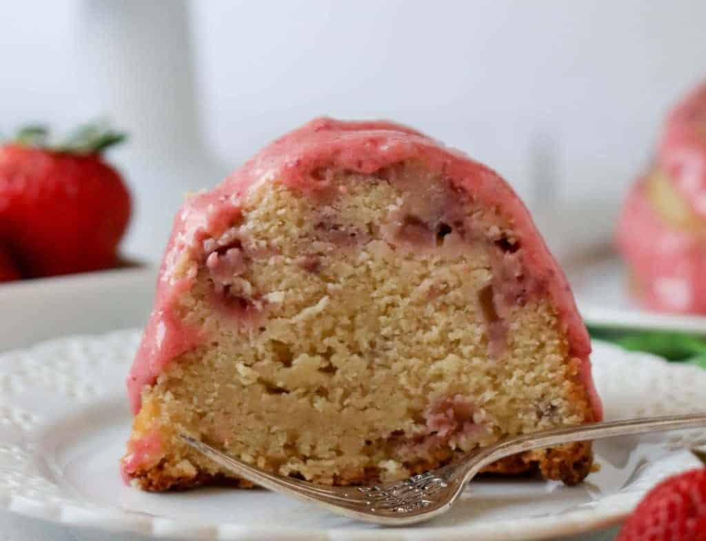 slice of strawberry pound cake on a plate