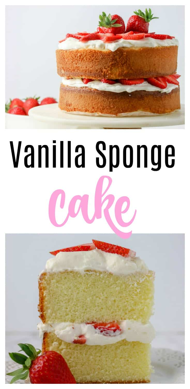 Vanilla sponge cake recipe - This 4 layer homemade perfect sponge cake is going to be a major showstopper at your next event! Layer this from scratch cake with whipped cream and strawberries for the ultimate strawberry shortcake!