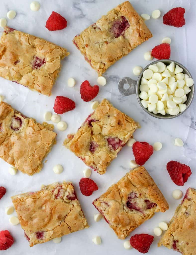 white chocolate raspberry bars on a counter