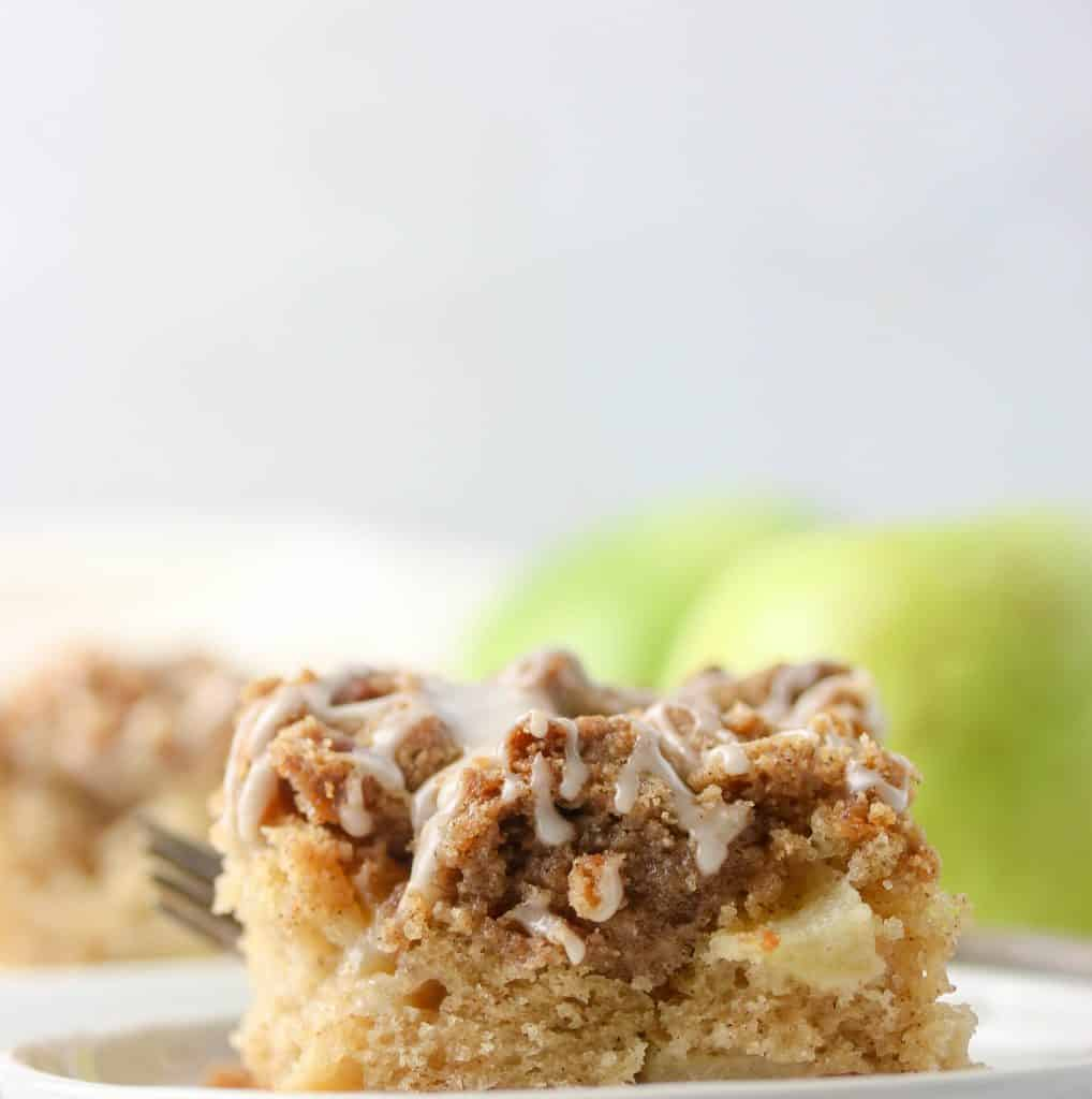 apple crumb cake slice on a plate
