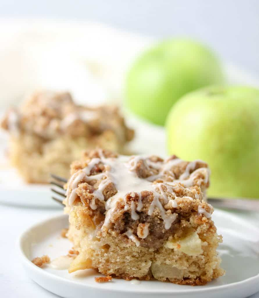 slice of apple crumb cake on a plate