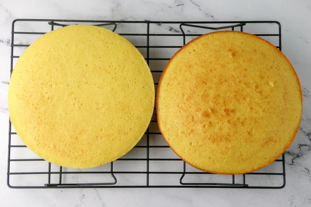 two cakes on a cooling rack
