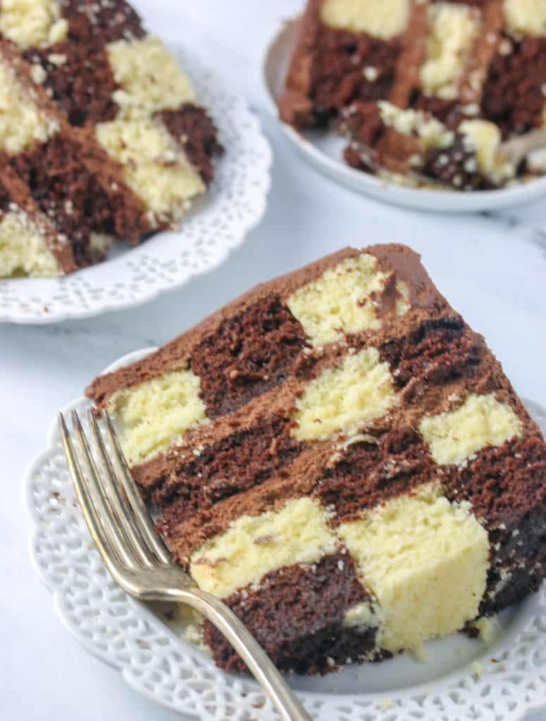 slices of checkerboard cake on plates