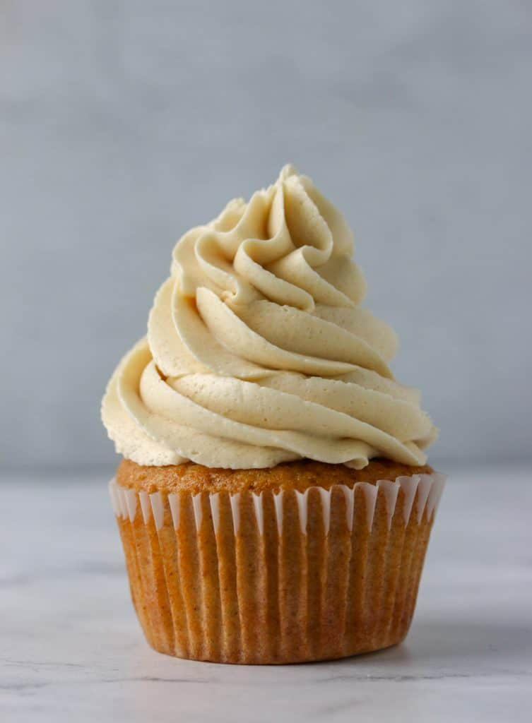 cupcake topped with brown sugar buttercream frosting