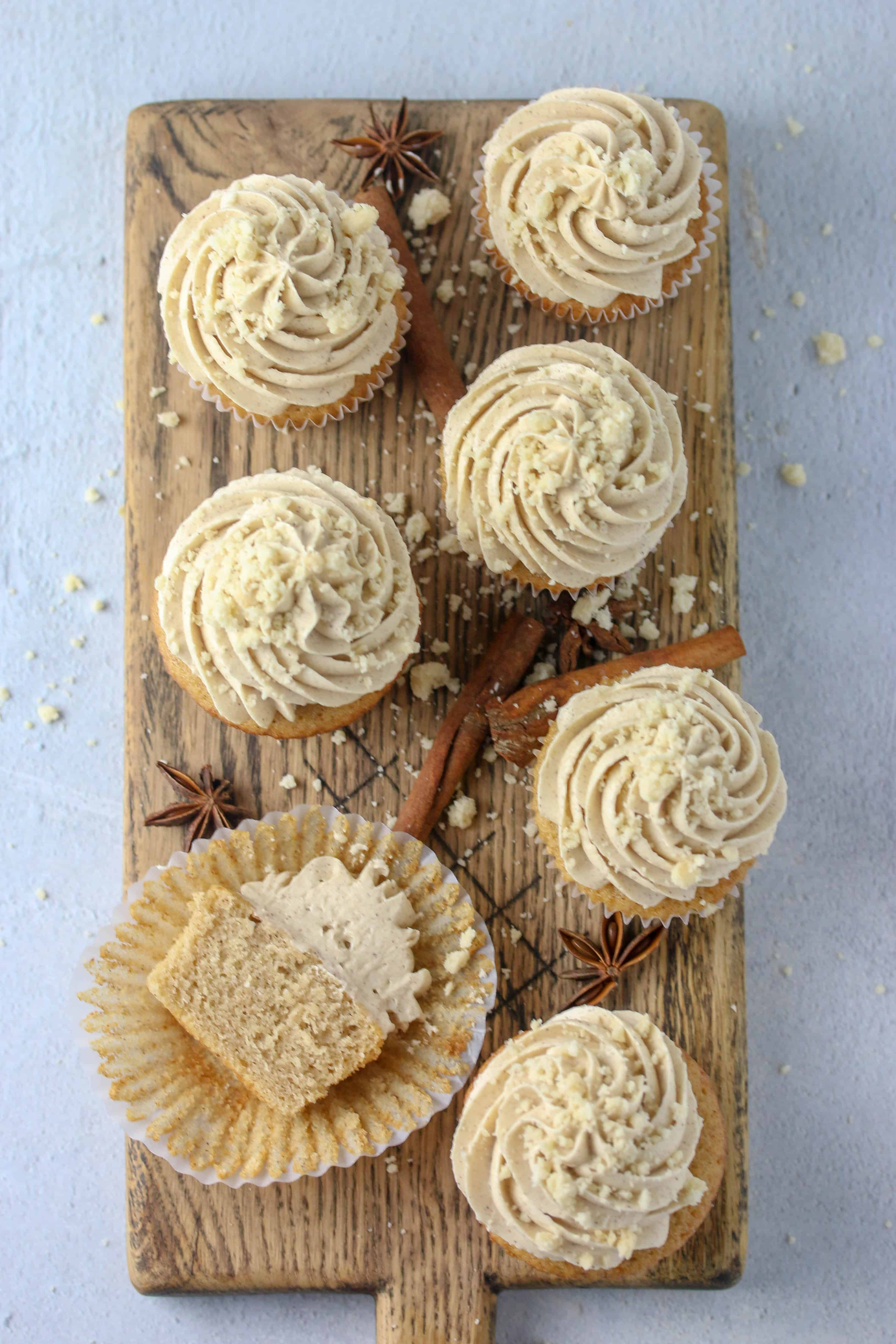 apple cider cupcakes on a cutting board