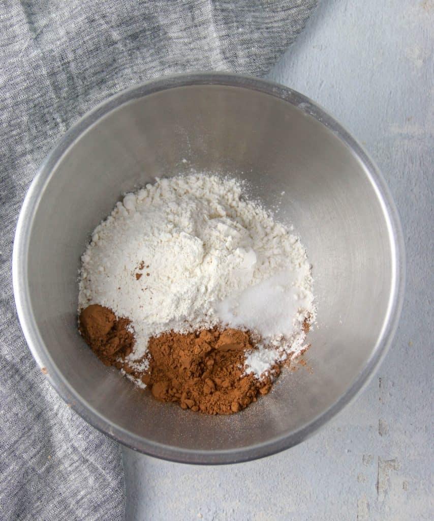 bowl of dry ingredients for red velvet cookies
