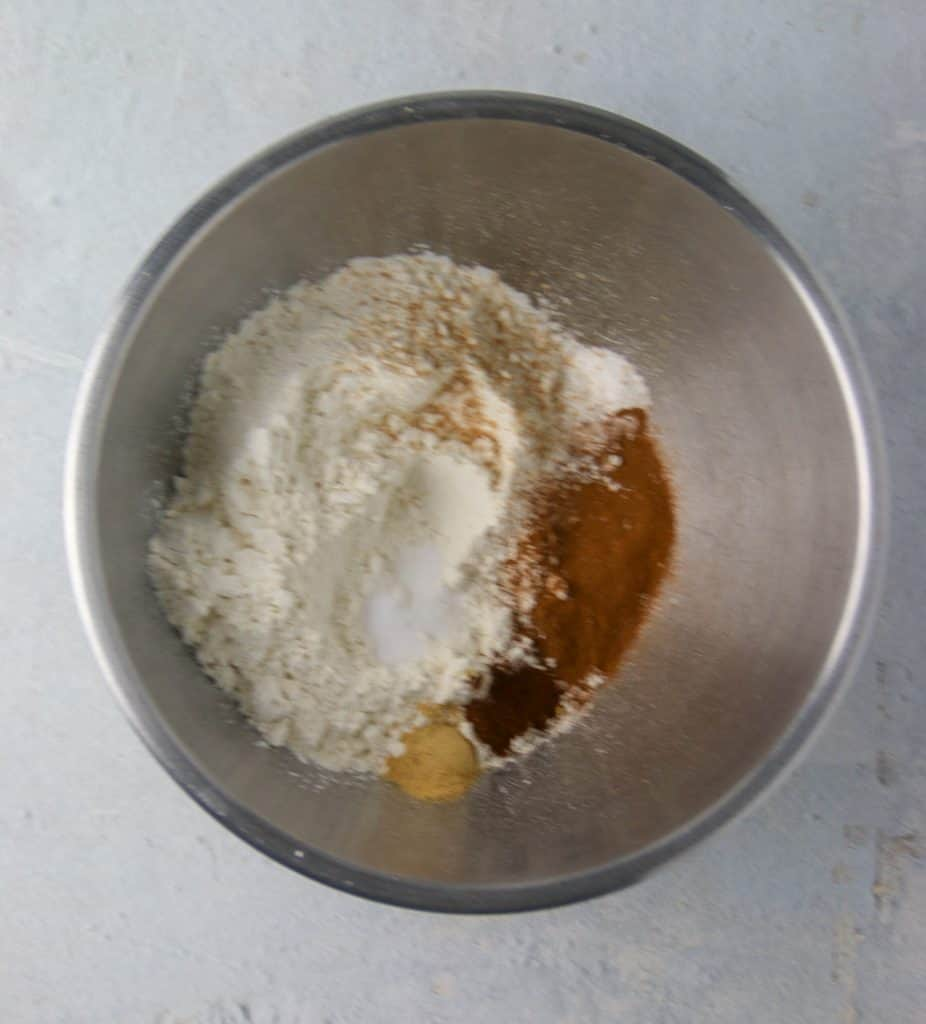 bowl of dry ingredients for pumpkin bars
