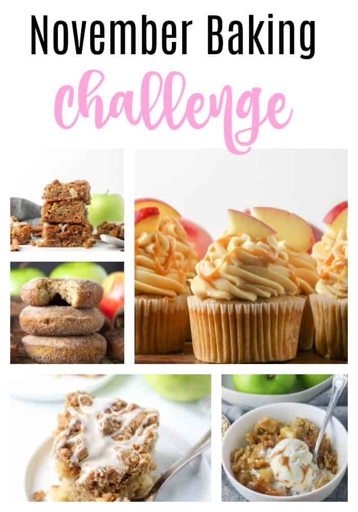 november baking challenge pin with apple recipes on it