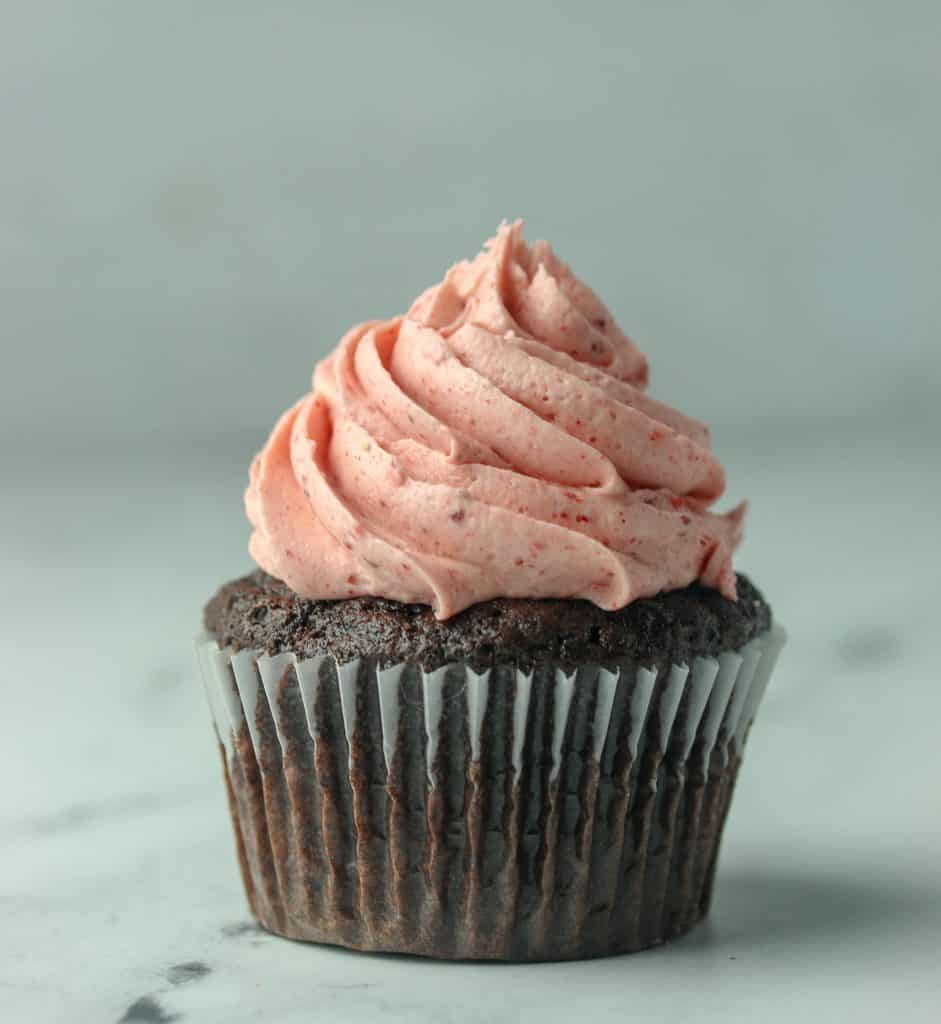 chocolate cupcake with strawberry frosting
