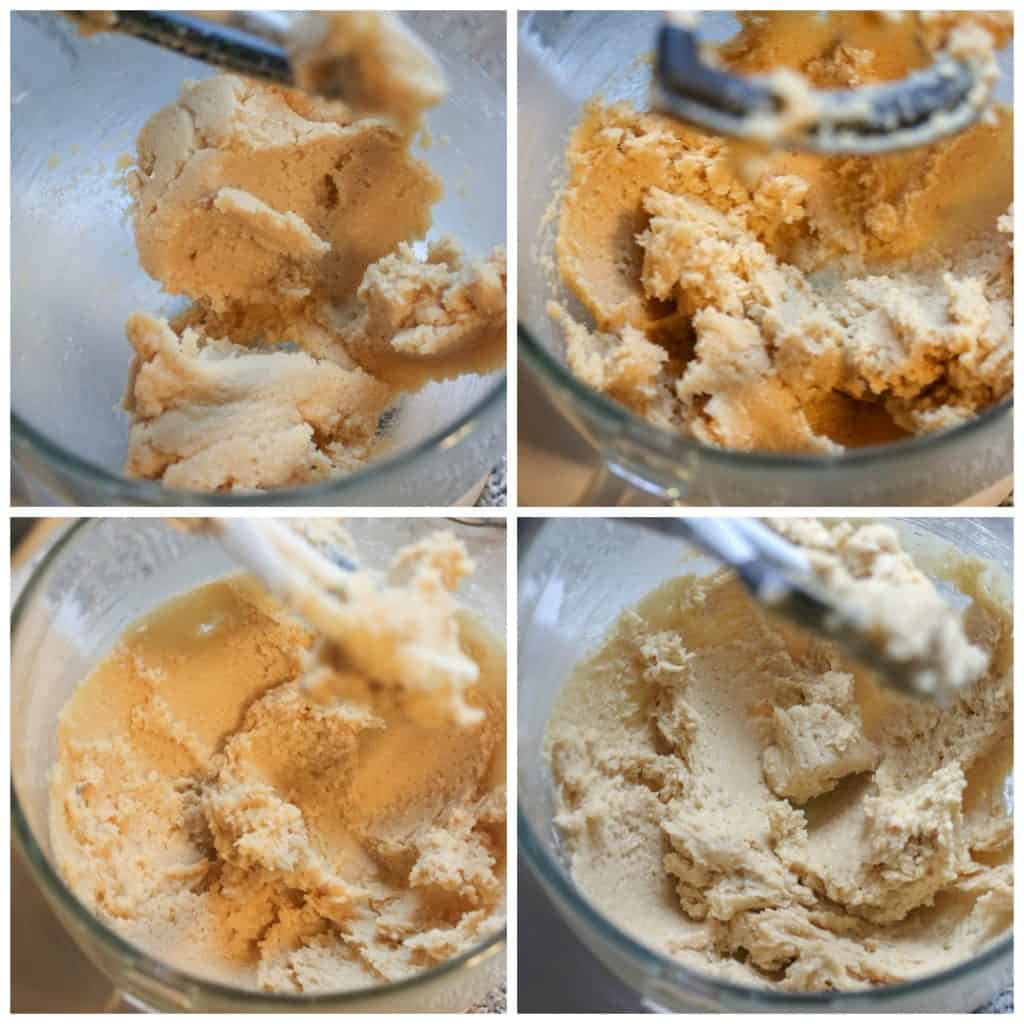 butter and sugar being creamed together in a bowl