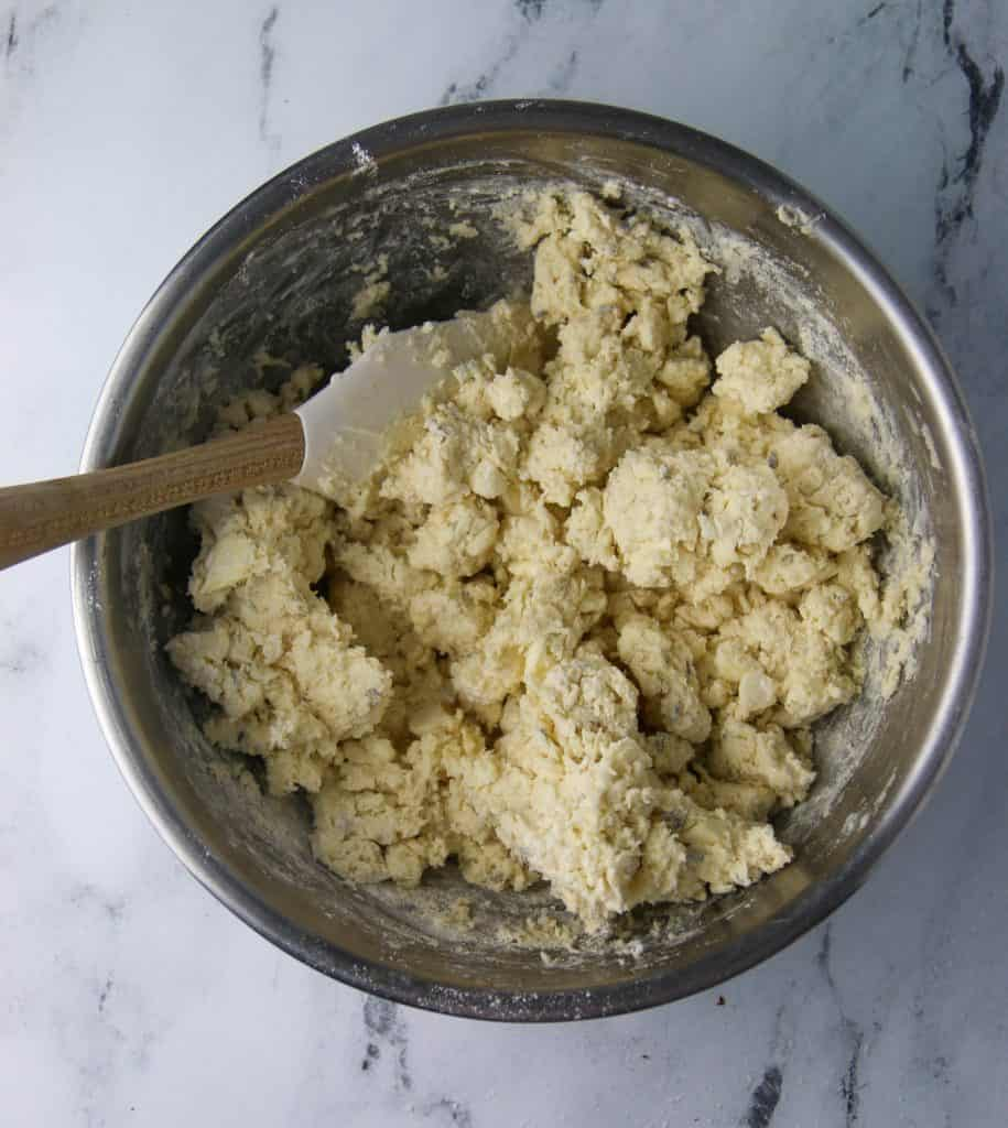 scone dough in bowl with spatula
