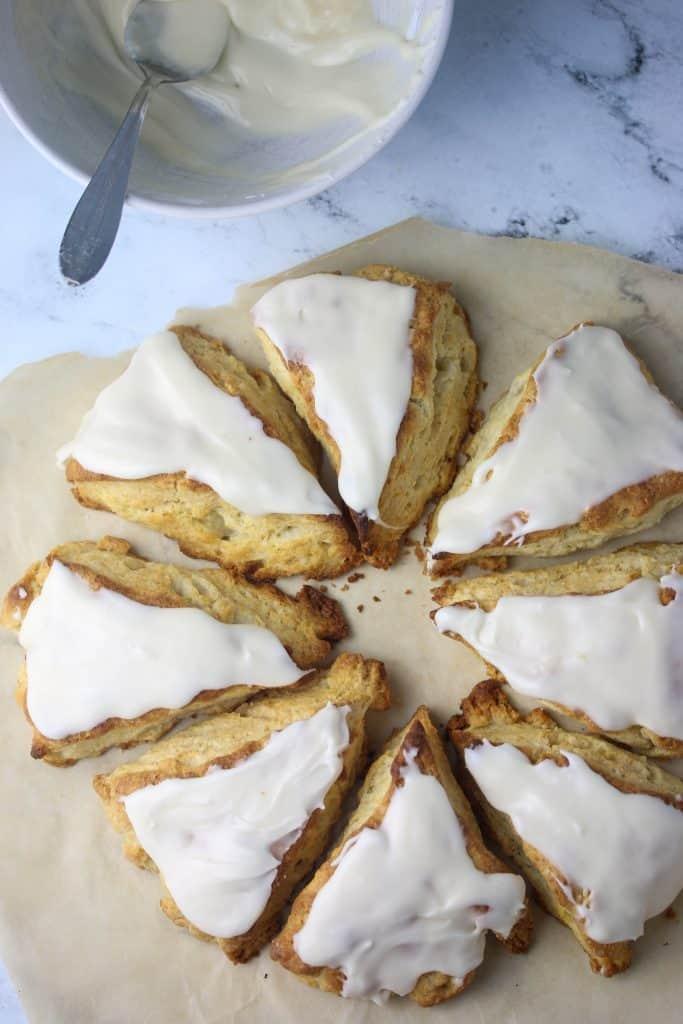 baked scones with vanilla glaze