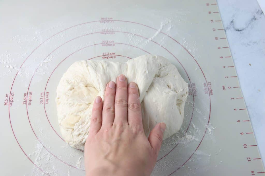 hand folding dough