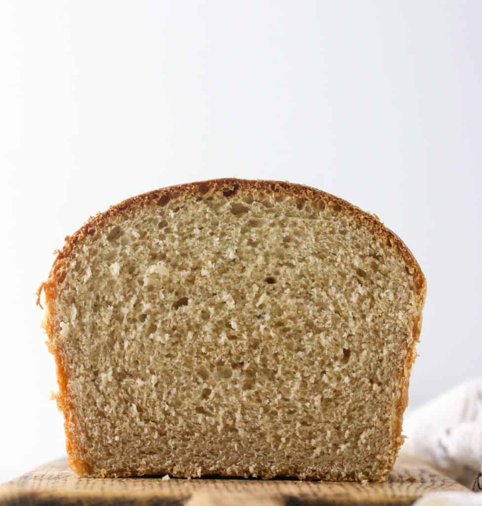 loaf of whole wheat sandwich bread cut in half