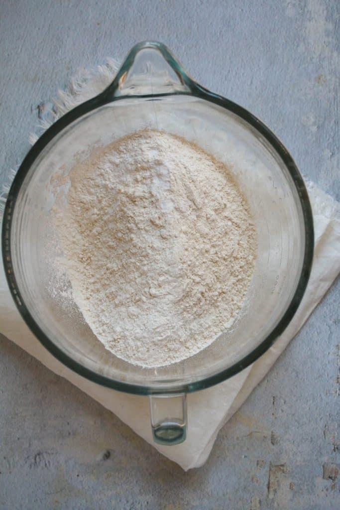 mixing bowl of dry ingredients