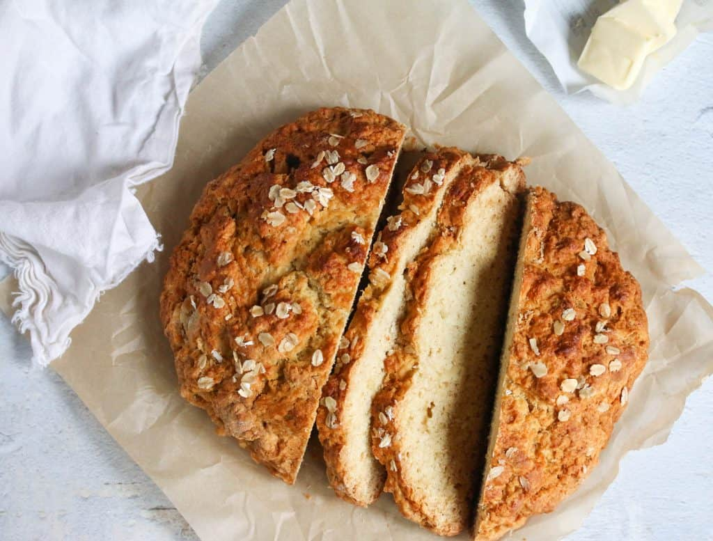 no yeast bread sliced on parchment