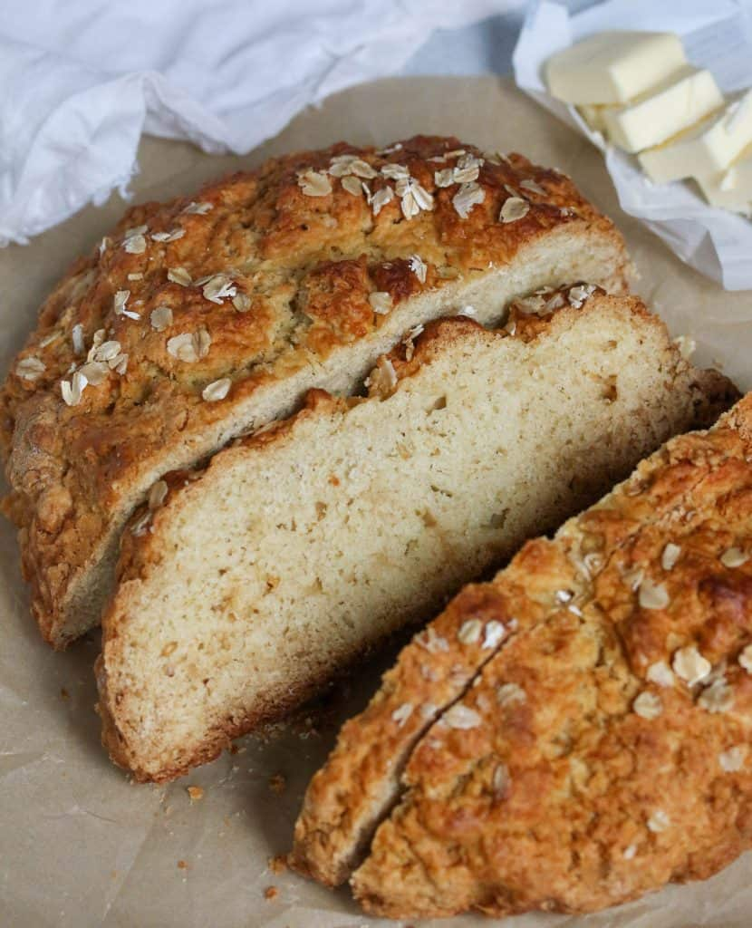 no yeast bread sliced on parchment paper