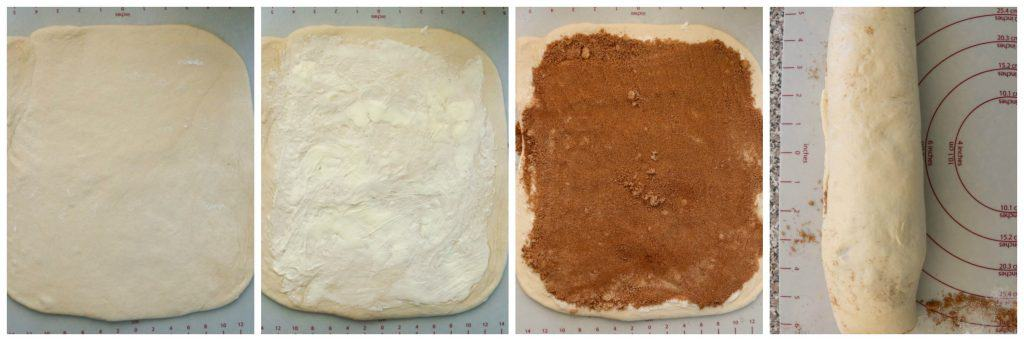 4 picture collage of rolling out, and filling dough with brown sugar and cinnamon