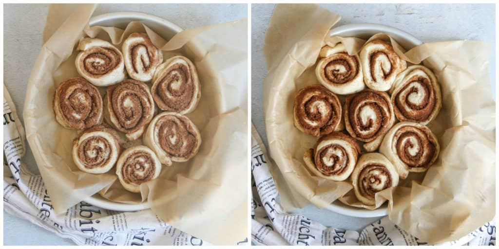 2 pictures of cinnamon rolls rising in pan