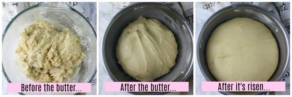 three picture collage of brioche dough before and after its risen